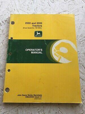 John Deere 2355 2555 Tractor Operators Manual