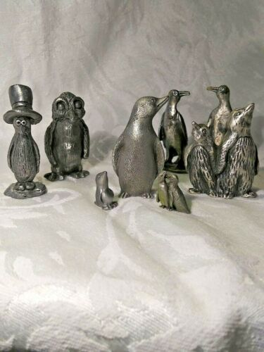 Pewter Penguin Figurines, Group of 8, unmarked, Vintage