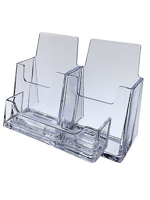 Three Pocket Business Card Holder Horizontal Vertical Display Stand Desk Qty 6