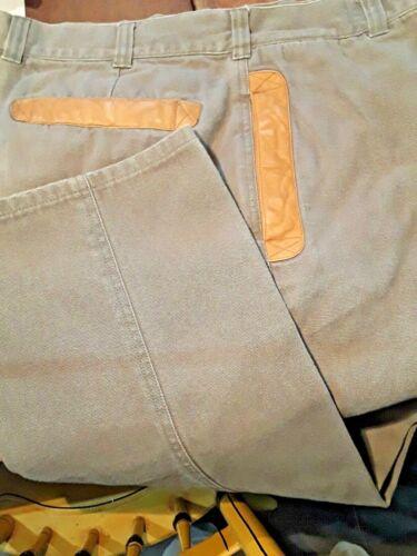 Vintage Orvis Green Heavy Twill Field Pants Leather Trim Pockets Sz 36 X 29