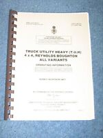 Reynolds Boughton 4x4 Rb44. Operating Information. (user Handbook) Ex Army. - reynolds - ebay.co.uk