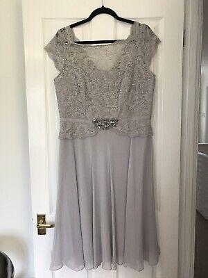 BNWT Jenny Packham Selena Silver Lace Midi Chiffon Dress size 16, cruise,wedding