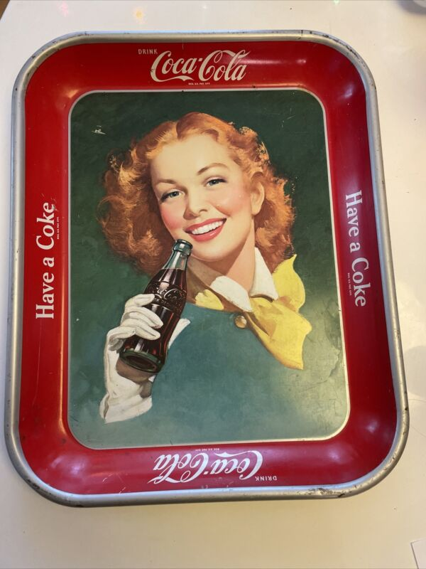 "Vintage 1950's ""Have A Coke"" Girl With Yellow Scarf Coca-Cola Metal Tray"