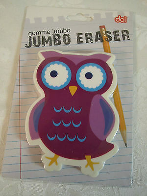 Cute Purple Owl Jumbo Eraser Paperweight Purple Blue Yellow White New