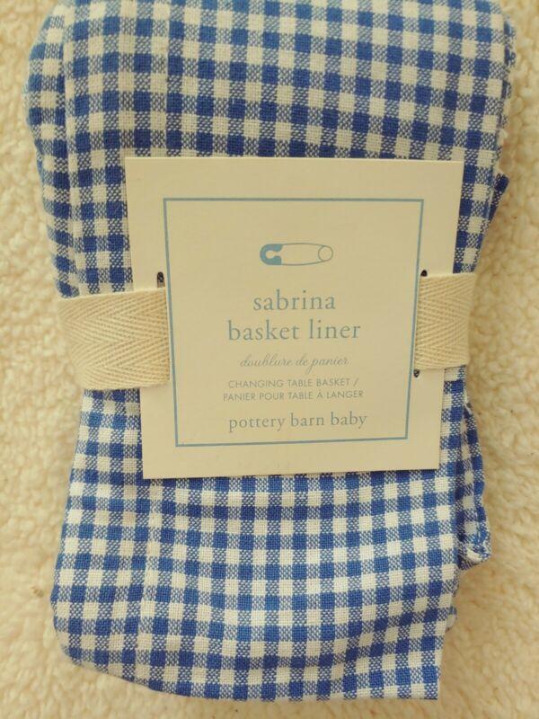 Pottery Barn Kids Basket Liner Sabrina Changing Table Blue White Check Cotton