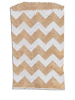 100 -3x5 Mini Natural Kraft White Chevron -flat Paper Treat Bags