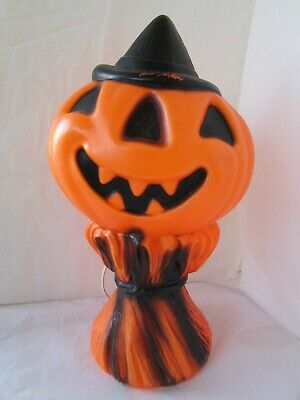 Vintage Halloween 1969 Empire Blow Mold Pumpkin Man Jack O'Lantern Light Up