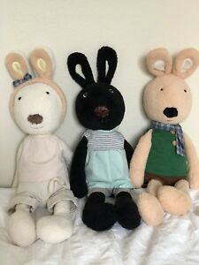 Le Sucre France Set of Three (3) Large Bunny Plush Rabbit Outfits 24