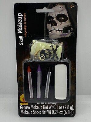 Halloween Make Up Skull Face (Halloween Skull Makeup Kit Earring Costume Theater Face)