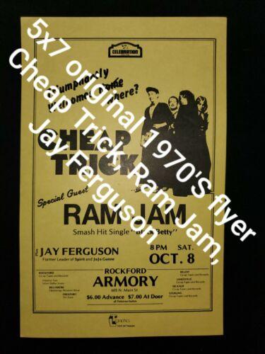 Cheap Trick, Ram Jam Rock memorabilia first print mint rare flyer handbill 70