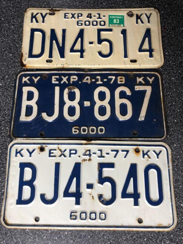 3 Vintage Kentucky license plate lot  1977, 78 , 83