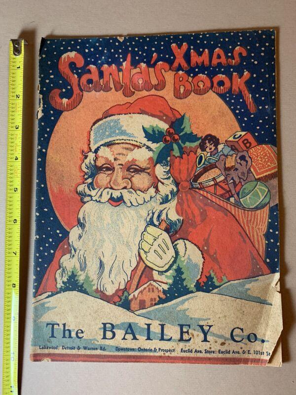 Vintage 1940s Bailey's Department Store Christmas Santa Claus Activity Book Rare