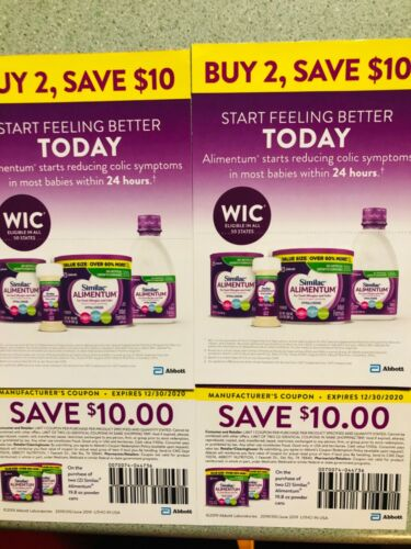 Similac Alimentum Coupons 10 for $30 .Exp on 12/30/2020