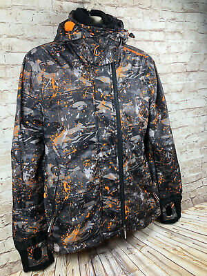 Superdry mens M arctic hoodie windcheater tech thumb holes paint splater print