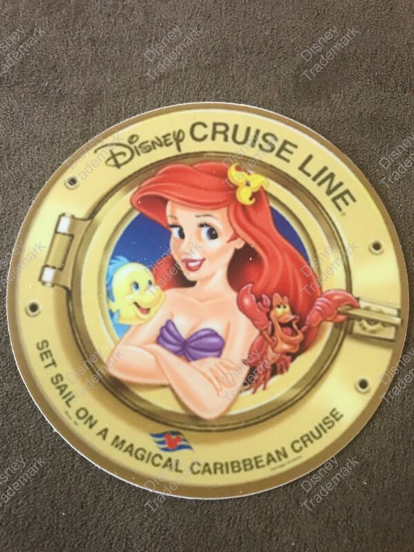 "RARE New 3"" Circular Disney Cruise Line Decal Sticker The Little Mermaid Ariel"