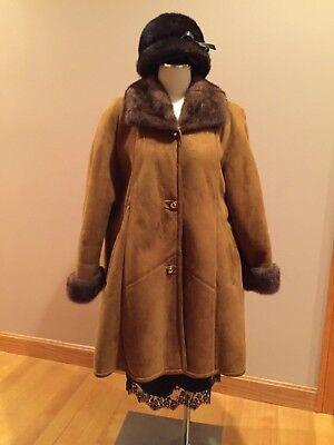 """Sheepskin Shearling Fur Coat Made Italy Women Sz L-XXL """"BONUS"""" MINK FUR HAT!!!!!"""