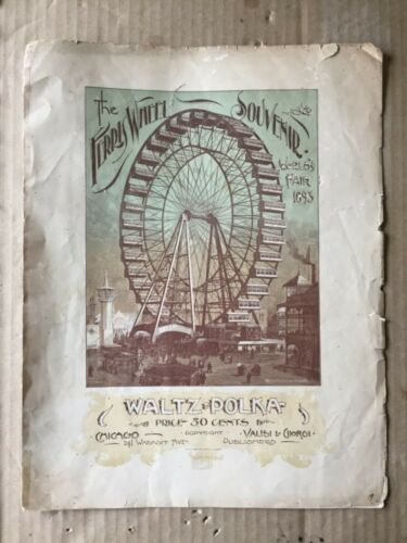 Vintage antique Ferris wheel sheet music 1893 world's fair Chicago columbian