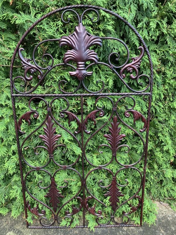 Vintage Heavy Metal Garden Fence Gate Grate Antique Architecture Salvage