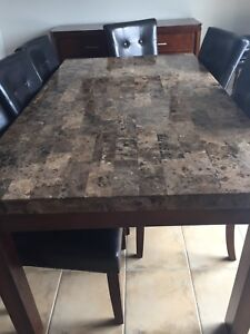 Dining room set marble + wine rack console priced to go