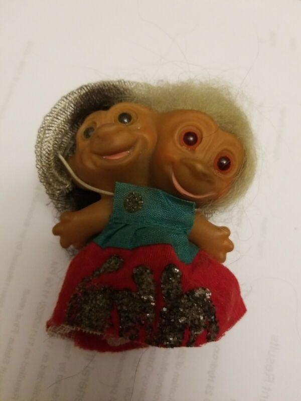 Vtg 1966 Uneeda Two Headed Troll green & Brown Hair silver hat red & green dress