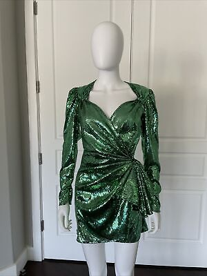 ATTICO Green Sequin Puff Sleeve Bow Wrap Consuelo Mini Dress 38 USA 4 Worn Once!