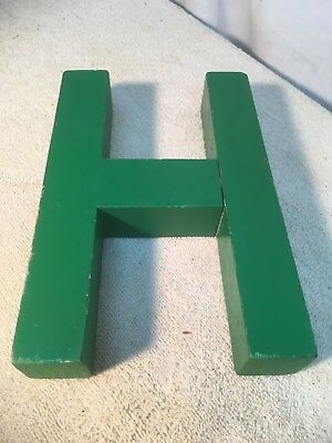 Letter H Big Vtg Wood Block Type Italic Font 8in X 5in X 1.5in Green