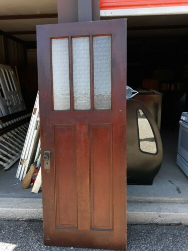 INTERIOR  ANTIQUE WOOD DOOR 3 PANES PRIVACY GLASS  32 X 83 CAN SHIP!!!