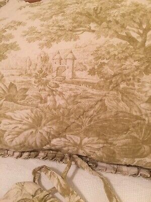 2 Pottery Barn Green Toile Quilted  Floral Pillow Shams Standard Linen Cotton