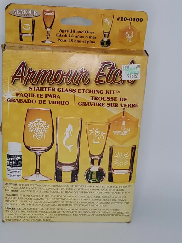 Armour Etch Starter Glass Etching Kit with Rub n etch & Reusable Stencil Asst