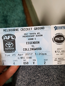 2x Anzac day footy tickets Melbourne CBD Melbourne City Preview
