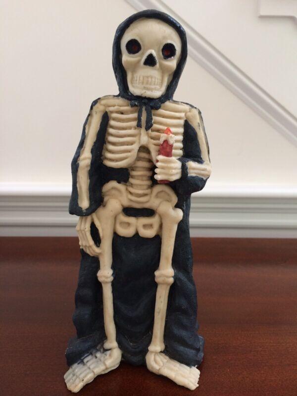 "VTG Halloween Grim Reaper Skeleton RED EYES Spooky Figure Holding Candle 10"""
