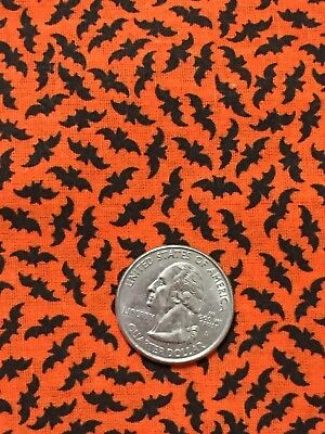 Halloween Small Flying Black Bat Bats All Over Orange Background Fabric 27in.](Orange Halloween Background)