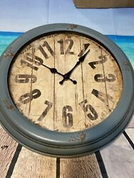 Rustic Vintage Style Metal Wall Clock Blue Home And Wall Decor Old Looking Rusty