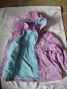 Girl's fleece lined Tinker Bell Rain Coat, like new sz 5