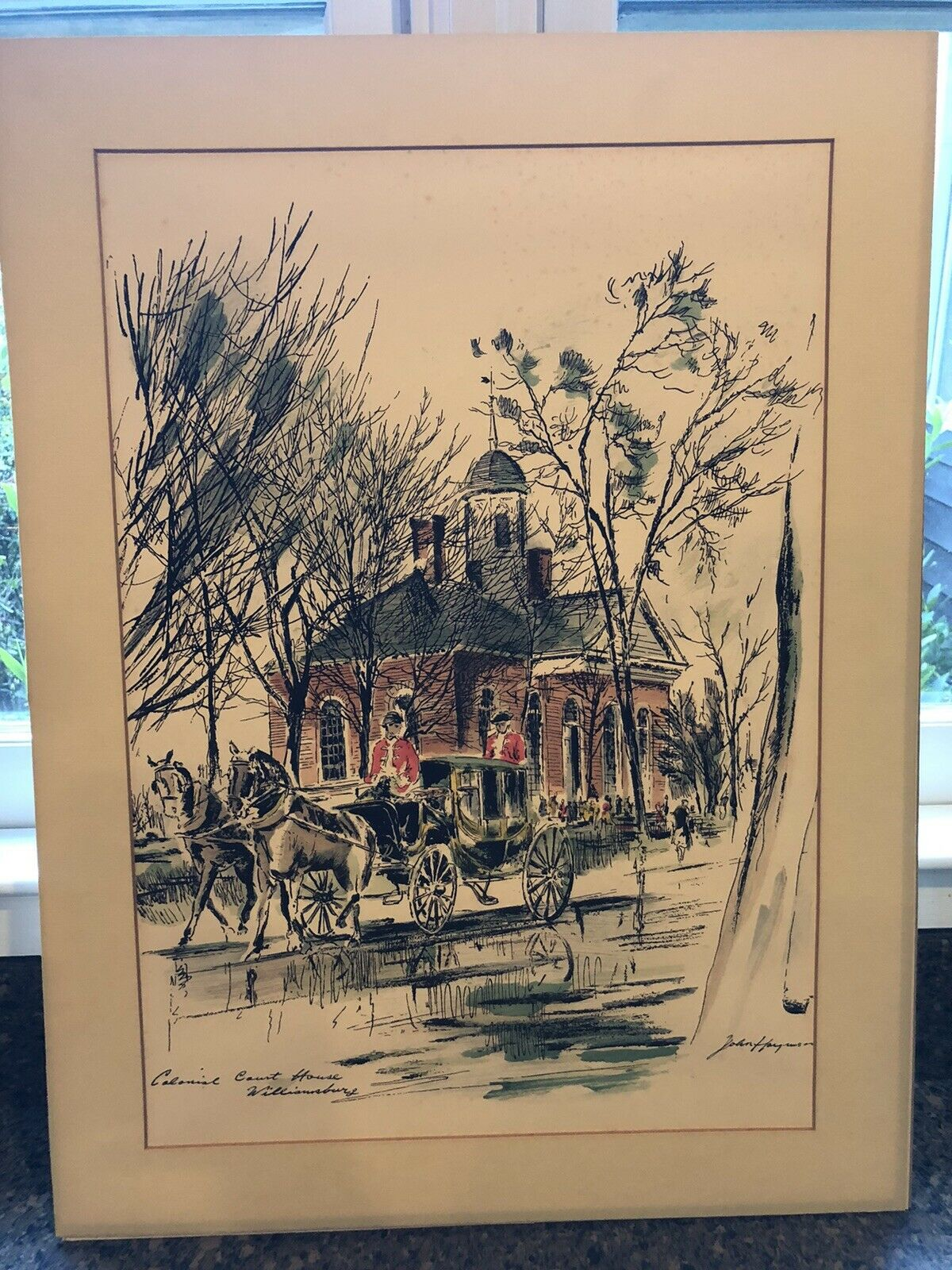 John Haymson Signed Watercolor And Ink Painting Colonial Courthouse Williamsburg - $109.99