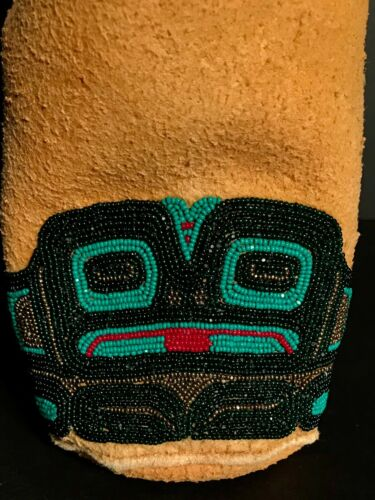 ALASKAN BEADED ON LEATHER PICTORIAL BAG / POUCH, ORIGINAL TAG, MINT CONDITION