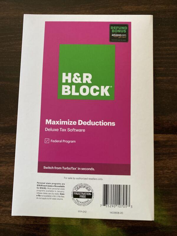 Sealed Key Card H&R Block Tax Software 2020 Deluxe FEDERAL & Amazon Refund Bonus