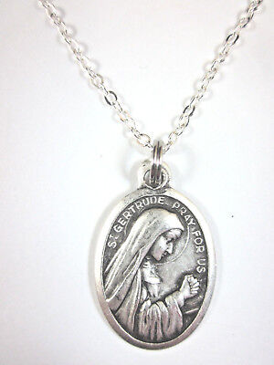 St Gertrude the Great Medal Pendant Necklace 20