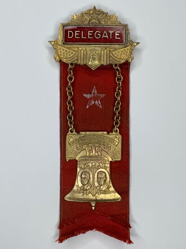 🔥1936 Democratic National Convention Delegate Pin Badge Franklin Roosevelt🔥