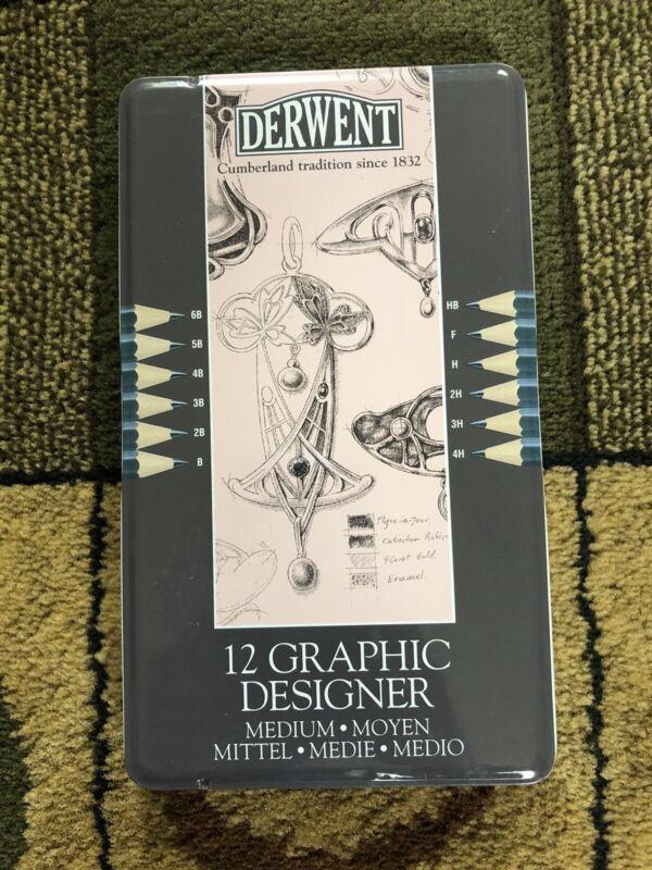 New Derwent 6B-4H Medium Graphite Pencils Pink Tin Case of 12 | 34214 Sealed