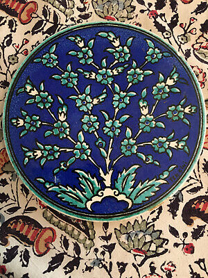 Vintage Circular Ceramic Floral Tile. Blue & Green. 6.5