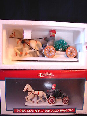 1992 Lemax Porcelain Village Accessory #13009 HORSE & WAGON New in Box