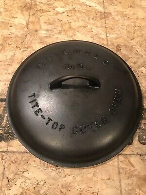 """Griswold Cast Iron No 9 Tite Top Dutch Oven Lid Only (11 1/4"""" Wide) - DS"""