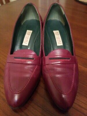 Gucci Authentic Women's Vintage Made In Italy Velvet Leather Med Heels Shoe 35 B
