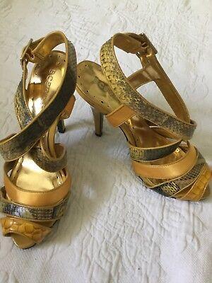 BCBGIRLS 7.5B Gold/Brown Satin/Animal Print Strappy Slingback Heels ()