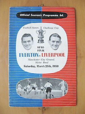 1950 FA Cup Semi-Final EVERTON v LIVERPOOL *Exc Condition Football Programme*