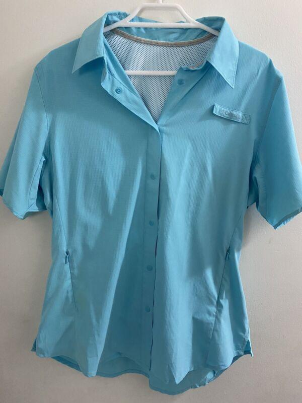 Columbia Womens Shirt Blue Size S Hiking Shirt. Vented Outdoors Light Weight