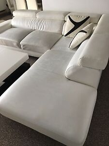 Leather sectional couch L shape and table