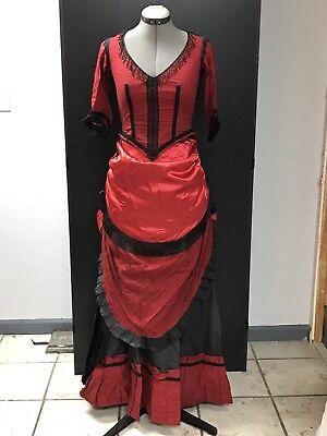 Saloon Girl Victorian Walking Dress Cowboy SASS Costume Old West Reenact Cosplay