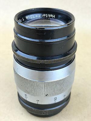 Leica SM 7.3cm f/1.9 Hektor Black & Chrome Leitz Lens # 235474 - Rare